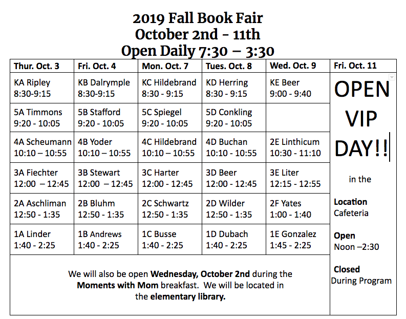 ELEM Fall 2019 Book Fair Schedule