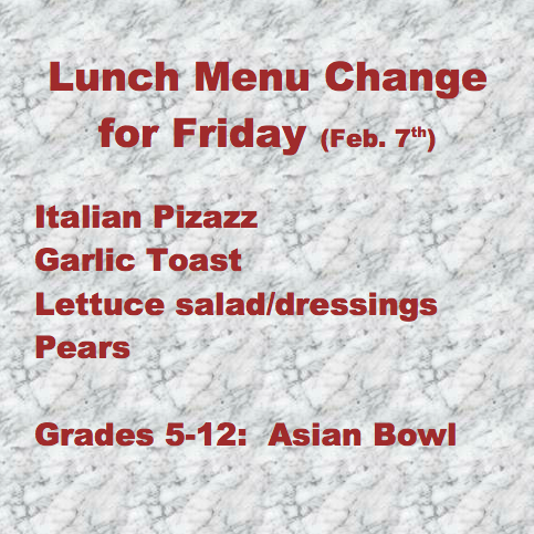 Lunch Menu Update