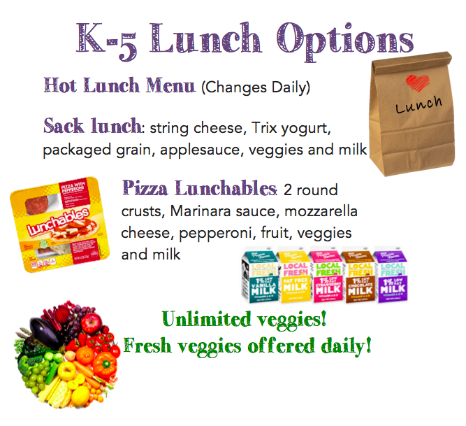 K-5 Lunch Options