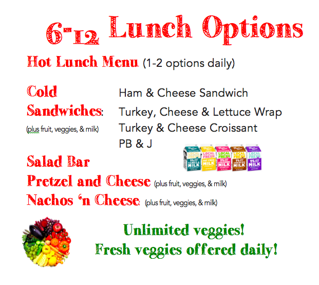 6-12 Lunch Options