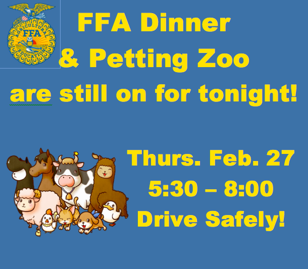 FFA Dinner and Petting Zoo